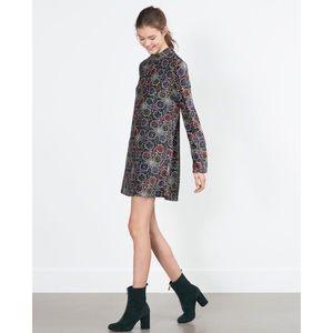 Zara Trafaluc Mock Neck Printed Velvet Dress